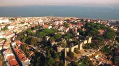 Panoramic view Castle of Sao Jorge Lisbon aerial Stock Footage
