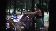 1958: a picnic in a forest area is seen AMES, IOWA Stock Footage