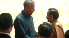 Barack Obama Greets Sultan of Brunei Stock Footage