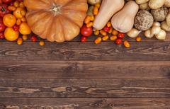 Autumn vegetables background, top view Stock Photos