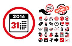 Last 2016 Month Day Flat Vector Icon with Bonus Stock Illustration