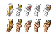 Male hand holding a glasses with beer, tequila, vodka, rum, whiskey. Vintage  Stock Illustration