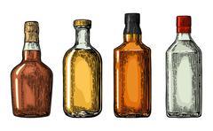 Set bottle for gin, rum, whiskey, tequila. Stock Illustration