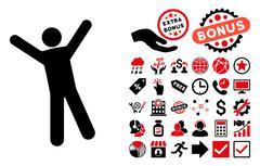 Man Joy Flat Vector Icon with Bonus Stock Illustration