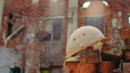 Out of focus old crumbling wall Stock Footage