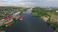 Small river in the city. aerial view Stock Footage