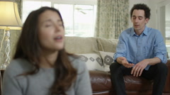 4K Couple with relationship problems having emotional conversation at home Stock Footage