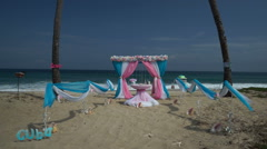 View to the place with scenery of wedding ceremony. Colorful flowers arch on a Stock Footage