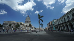 View of famous central touristic street in Havana to the Capitol and Stock Footage