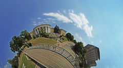 Little Tiny Planet 360 Degree Independence Square People Tourists Are Walking Stock Footage