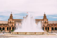 Plaza De Espana In Seville, Andalusia, Spain. Renaissance Reviva Stock Photos