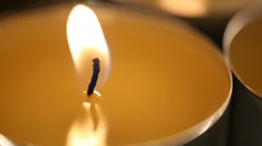 Calm hypnotic candle flame burning in darkness, romantic atmosphere, relax Stock Footage
