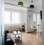 Interior of modern apartment in scandinavian style Stock Photos
