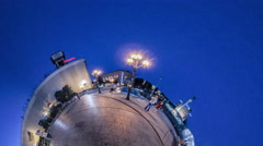 Little Tiny Planet 360 Degree Independence Square Kiev in Evening Independence Stock Footage