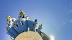 Little Tiny Planet 360 Degree Cathedral, Kiev. St. Michael's, Ancient Monastery Stock Footage