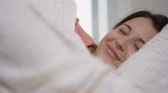4K Happy couple enjoying early morning affections in the bedroom Stock Footage