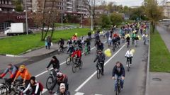 Parade of bicyclists,bike riders Stock Footage