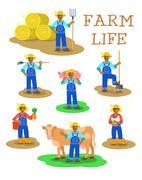 Black farmers men and women working on farm Stock Illustration