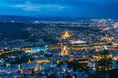 Tbilisi Georgia. Aerial Scenic Cityscape View In Evening Illimination Kuvituskuvat