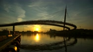 Bridge on a river at sunset, in Pescara, Italy. Ponte del mare. Stock Footage