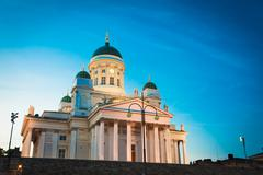 Finland Helsinki Lutheran Cathedral Famous Landmark Dome Building Stock Photos