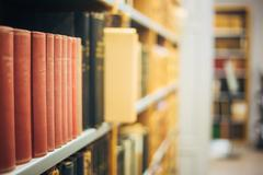 The Collection Of Old Scarce Editions Of Retro Books In Vintage Stock Photos