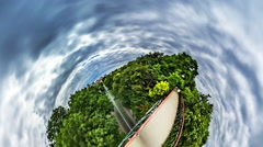 Little Tiny Planet 360 Degree Park Bridge Lovers Bridge Kiev Sights People Are Stock Footage