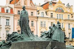 Jan Hus Memorial on the Old Town Square in Prague, Czech Republic Stock Photos
