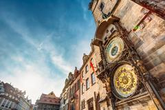 Tower With Astronomical Clock - Orloj In Prague, Czech Republic Stock Photos