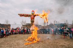 Scene Of Burning Maslenitsa Dummy On Eastern Slavic Mythologycal Stock Photos