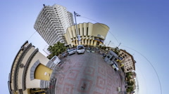 Little Tiny Planet 360 Degree Synagogue Kiev Square People Walk by Building in Stock Footage