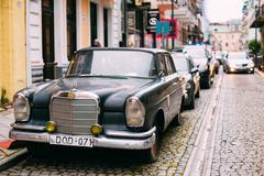 Batumi Georgia. Black Rarity Retro Mercedes Benz Car Parked Stock Photos