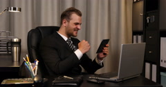 Happy Banker Businessman Analyzing Digital Tablet Excited Results Company Office Stock Footage