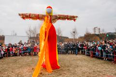 Scene Of Burning Maslenitsa Dummy On Eastern Slavic Mythologycal Stock Photos