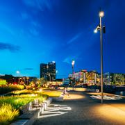 Oslo Norway. Scenic Cityscape In Bright Night Illumination With Stock Photos