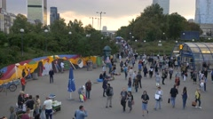 Crowd walking in the center of Warsaw. Stock Footage