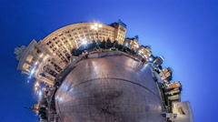 Little Tiny Planet 360 Degree Independence Square Kiev in Evening People Are Stock Footage