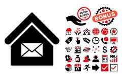 Post Office Flat Vector Icon with Bonus Stock Illustration
