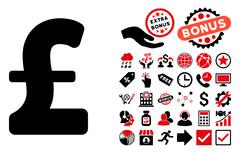Pound Sterling Flat Vector Icon with Bonus Stock Illustration