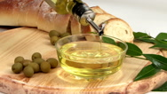 Olive Oil Display Stock Footage