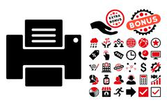 Printer Flat Vector Icon with Bonus Stock Illustration