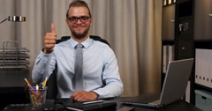 Optimistic Charming Business Man Look Camera Thumb Up Sign Meeting Room Office Stock Footage