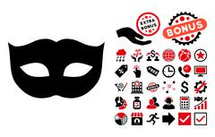 Privacy Mask Flat Vector Icon with Bonus Stock Illustration