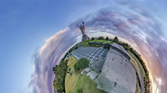 Little Tiny Planet 360 Degree Monument Motherland Museum of History of Ukraine Stock Footage