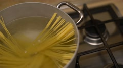 Spaghetti in a boiling pot cooking for an italian lunch. Stock Footage