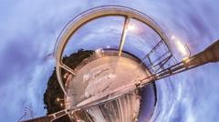 Little Tiny Planet 360 Degree. Pedestrian Bridge Stock Footage