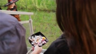 Halloween, Kids Want Halloween Candy, Children wearing witch costumes with hats Stock Footage