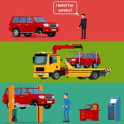 Roadside assistance and car service concept Stock Illustration