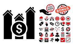 Realty Price Charts Flat Vector Icon with Bonus Stock Illustration