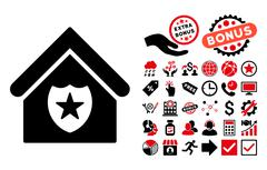 Realty Protection Flat Vector Icon with Bonus Stock Illustration